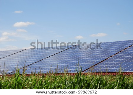 Alternative energy with photovoltaic cells - stock photo