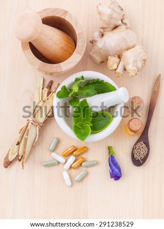 Alternative health care fresh herbal ,dry herbal and herbal capsule with mortar on wooden background. - stock photo