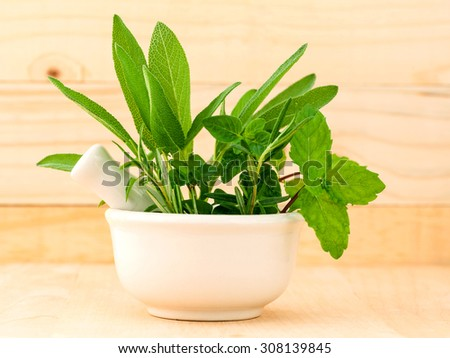 Alternative health care fresh herbal in white mortar on wooden background. - stock photo