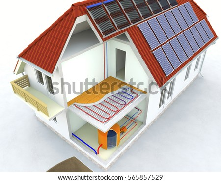 Alternative Heated House With Solar Panels Radiant Underfloor Heating Systems