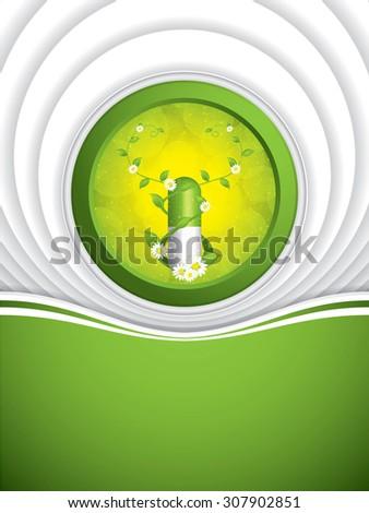 Alternative medication concept - herbal pill - stock photo
