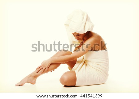 Alternative medicine and body treatment concept. Atractive  young woman after shower with towel. Instagram style - stock photo