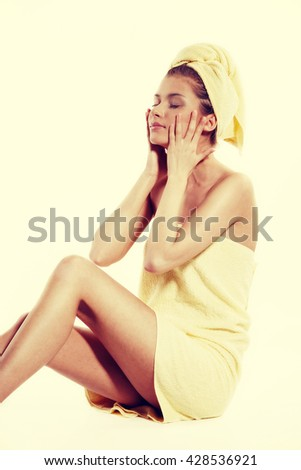 Alternative medicine and body treatment concept. Attractive  young woman after shower with towel. Instagram filter - stock photo