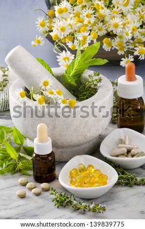 Alternative Medicine. Rosemary, mint, chamomile, thyme in a marble mortar. Essential oils and herbal supplements. - stock photo