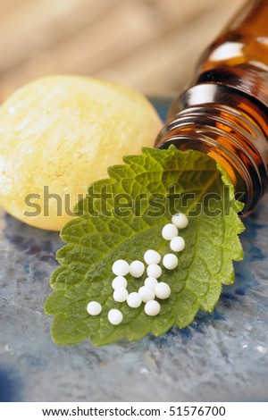 alternative medicine with herbal and homeopathic pills - stock photo