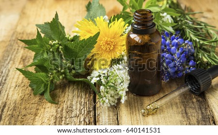 Alternative medicine with plant-based essential oil bottle and medicinal plants