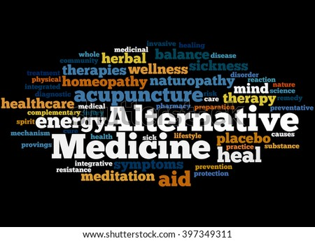 Alternative Medicine, word cloud concept on black background.