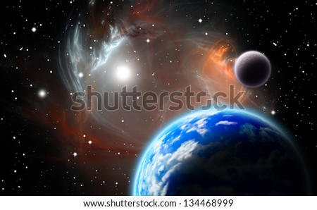 Alternative planetary system.(All art elements made by me) - stock photo