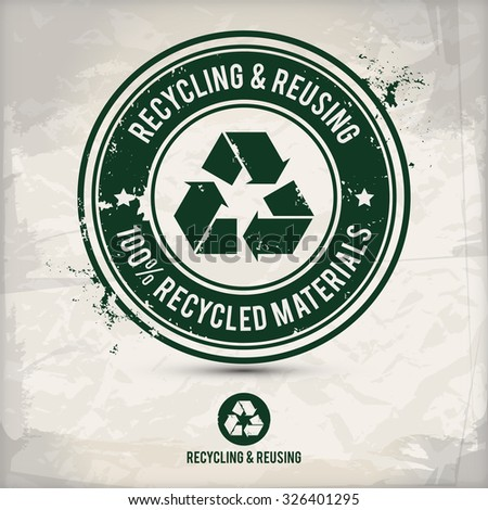 alternative recycling stamp on textured background - stock photo