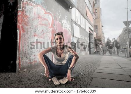 alternative skater - stock photo