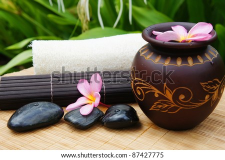 alternative treatment of spa and with zen stone - stock photo
