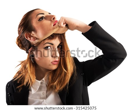 Alternative woman with piercing unmask a good girl - stock photo