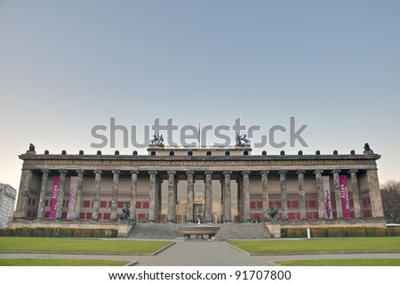 Altes Museum (Old Museum) located on Museum Island, a UNESCO-designated World Heritage Site on Berlin, Germany - stock photo