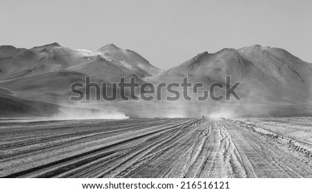 Altiplano high plateau, Bolivia (black and white) - stock photo