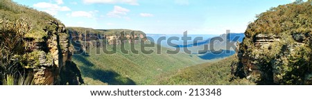 Altitude view in Australia Wentworth falls - stock photo