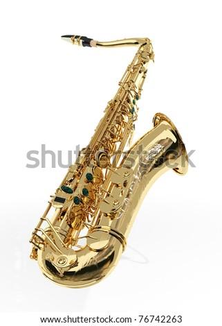 Alto sax against white background - stock photo