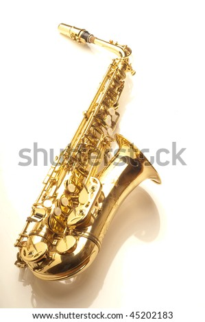 alto sax on white - stock photo