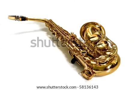 alto sax on white background - stock photo