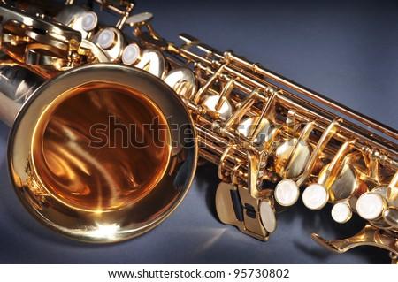 Alto Saxophone fragment - stock photo