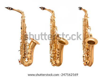 Alto saxophone in soft light isolated on white - stock photo