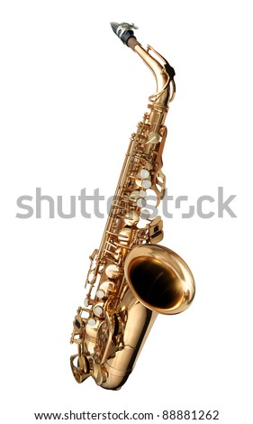 Alto Saxophone woodwind instrument isolated over white - stock photo
