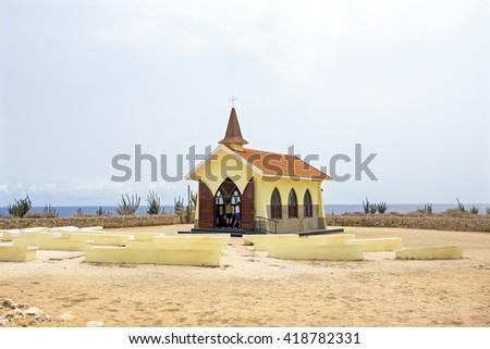 Alto Vista Chapel on Aruba island in the Caribbean - stock photo