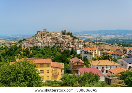 Altomonte and its surroundings on a hot summer day, Cosenza, Calabria, Italy. - stock photo