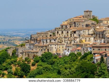 Altomonte town on a sunny day, Cosenza, Calabria, Italy. - stock photo