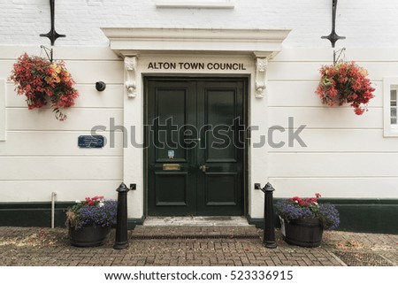 ALTON, HAMPSHIRE, UNITED KINGDOM - 21st August 2016: Entrance to Alton Town Council building