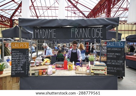 ALTRINCHAM, UK - JUNE 7 2015: A crepe and galette stall at Altrincham market, Manchester. Altrincham is a market town in Trafford, Greater Manchester and an affluent commuter town  - stock photo