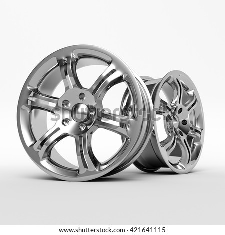 Aluminium Alloy rims, Car rims. 3D rendering. - stock photo