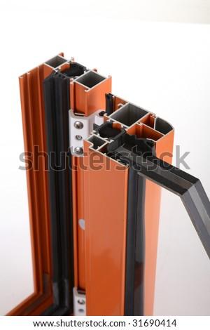 aluminium alloy window detail - stock photo