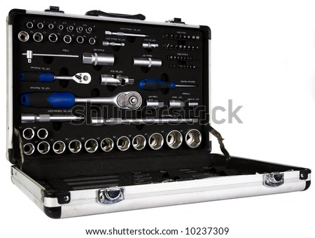Aluminium Briefcase loaded with Mechanics Tools - stock photo