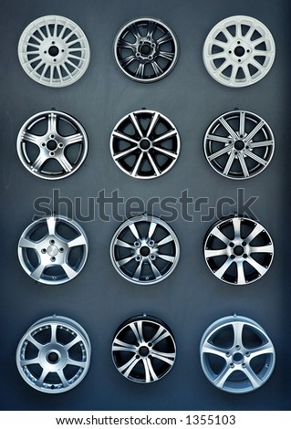 Aluminium car rims texture in auto store