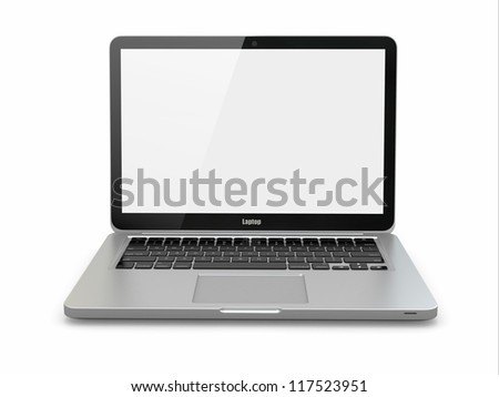 Aluminium laptop on white background. Three-dimensional image. - stock photo