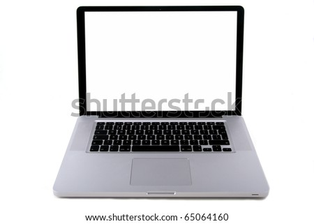 aluminium laptop  with a white screen isolated on white - stock photo