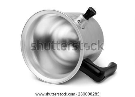 Aluminium milk boiling jug on white background - stock photo