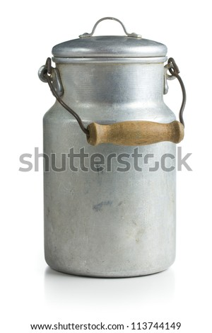 aluminium milk can on white background - stock photo