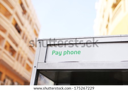 Aluminium public pay telephone at street of Dubai.