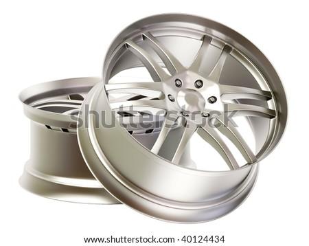 aluminium rims on isolated background - stock photo