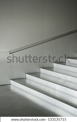 aluminium silver metal stairs architecture detail - stock photo