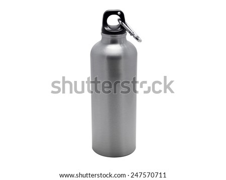 Aluminium sport water bottle with a carabiner attached to the top - stock photo