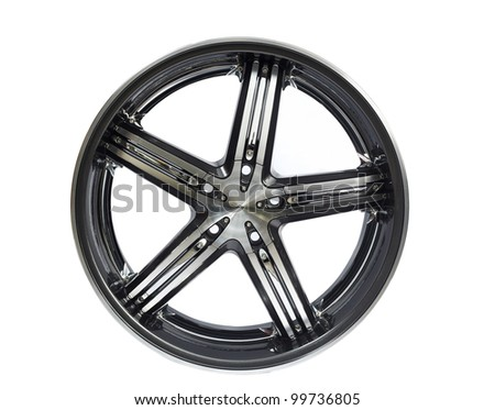 aluminium steel wheel against white background