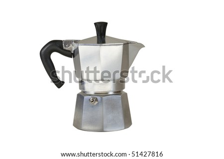 Aluminium stove top coffee maker isolated on white