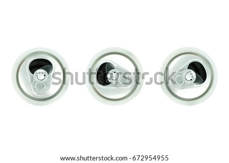 Aluminium White Beer Can, top side, Silver cap, Open beer cans isolated on white background