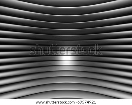 Aluminum abstract silver concave stripe pattern background 3d illustration