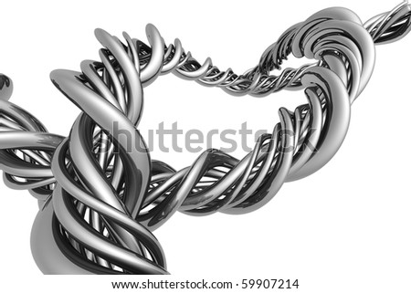 Aluminum abstract silver string artwork background 3d illustration - stock photo
