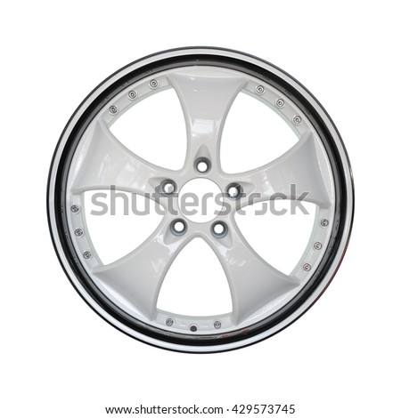 Aluminum alloy white and black car rim on a white background