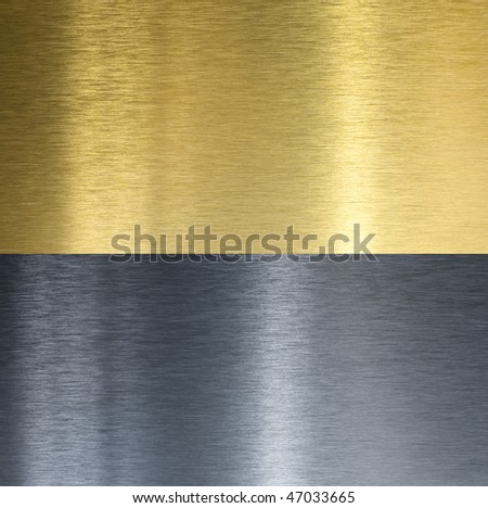 Aluminum and brass stitched textures - stock photo