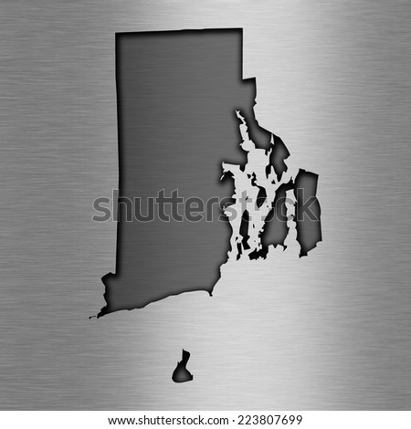 Aluminum background with map - Rhode Island
